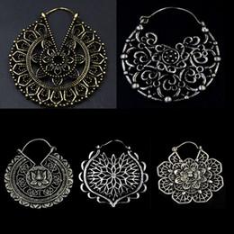 Wholesale Piercing Spirals - 20g Brass Copper Tribal Indian Spiral Drop Earring Weight Flower Charming Ear Hoop Jewelry Dangle Ear Piercing Style