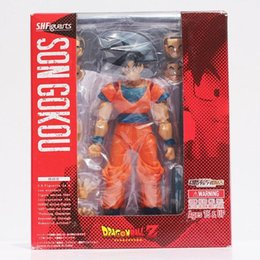 Wholesale Plastic Face Doll - Anime Dragon Ball Z SHFiguarts Son Gokou Action Figure Goku PVC Model Dolls Toys Face Changeable Great Gifts 15cm Approx Retail
