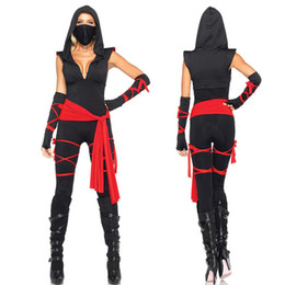 Wholesale Japanese Halloween Jumpsuits - High Quality Black Ninja jumpsuits Costume For Women Halloween Sexy Adult Assassins Creed Role Playing Costumes Warrior Costume
