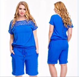 Wholesale Purple Overalls Women - Rompers Summer Women Jumpsuit Short Sleeve Lace Plus Sizes 2016 New Summer Women Clothing Knee-Length Overalls L-4XL