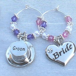 Wholesale wholesale groom supplies - Customized Personalized Champagne hap or heart Charms Wedding Toast Wine Glass Charms Bride Groom Bridesmaid Thanks For Coming 1 Piece