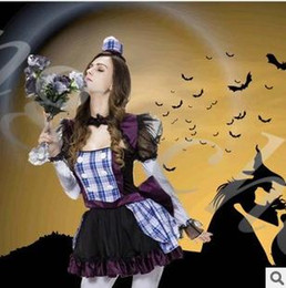 Wholesale Clown Dance Costumes - Wholesale-Halloween clown ghost bride bridesmaid dress costumes European and American game Suit dance party equipment