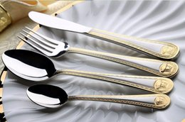 Wholesale Gold Medusa Head - Wholesale 4Pcs Medusa Head Gold Cutlery Stainless Steel Flatware Set Tableware Dinnerware Knife Spoon Fork New