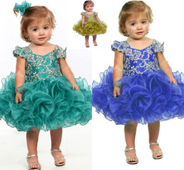 Wholesale Baby Blue Pageant Dress - 2016 Little Girl Flower Girl Dress Blue Baby Girl Infant Toddler Birthday Pageant Dress Short Length Ruffled Fashion Ball Gown Tutu HY951
