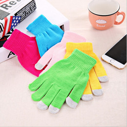 Wholesale Universal Gloves - Universal Soft Mittens For Men And Women Elastic Gloves Winter Mobile Phone Touch Screen Glove Pure Color 1 6ms B