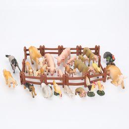 Wholesale Model Farm - 18cm Cartoon Animals Pasture Farm World cow pig chicken duck sheep horse rabbit Models doll toys christmas gift