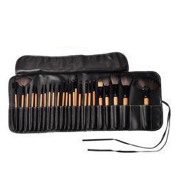 Wholesale Wholesale Leather Handles - 24pcs set Makeup Brushes Sets Bobi Professional Makeup Brushes Wood Makeup Brushes tools Set Kits Fiber brush + Wood Handle + Leather Case