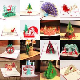 Venta caliente 3D Pop Up tarjeta de fiesta Diseño de Pavo Real Postal de Navidad Tarjeta de Felicitación de Año Nuevo Plegado a mano Kirigami desde fabricantes