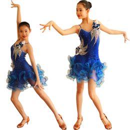 Wholesale Royal Blue Large Size Dresses - Latin Competition Dance Dress Girls Luxuriant Large Size Custom Made Sumba Runma Chacha Latin Dancing Skirt
