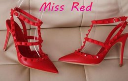 Wholesale Ankle Strap Spiked High Heels - HOT! Big Size 2016 Designer 8cm 10cm Gladiator High Heels Women Shoes Nude Black Spikes T-strap Pump Patent Leather Stud Lady Shoes Summer