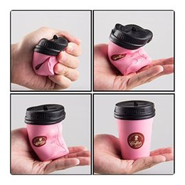 Wholesale Cake Coffee Cups - Free Shipping Squishy Coffee Cup Slow Rising Jumbo Phone Strap Kawaii Squishies Pendant Soft Stretchy Cake Kids Fun Toy Gift KeyChains