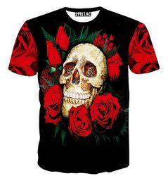 Argentina Los más nuevos hombres / mujeres camiseta rosa roja cabeza del cráneo de impresión de manga corta de verano casual 3d camiseta marca top tees supplier rose red man shirts Suministro