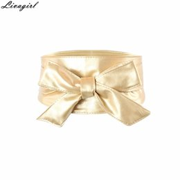 Wholesale Wholesale Elegant Corsets - Wholesale- Fashion Women Elegant PU Leather Wrap Around Bowknot Bind Wide Waistband Corset Cinch Belts All-match Wide Female Belt