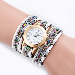 Repartir vestidos online-Super Deal, Relojes de moda para mujer Retro Reloj pulsera de cuero sintético Reloj de cuarzo Crystal Bling Vestido Montre Relogio