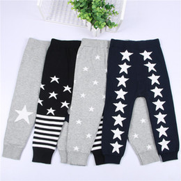 Wholesale Baby Knit Sweater Pattern - INS Baby Girls Boys Sweater Pants 2017 Fashion Autumn Winter Star Patterns Knitted Warm Trousers Striped Toddler Kids Clothing