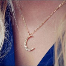 Wholesale Rhinestone Silver Plated Alloy Pendant - necklaces New Fashion Gold Silver Plated Alloy Pendant Jewelry Women Wholesale Elegant Full Rhinestone Moon Clavicle Chain Necklaces SN671