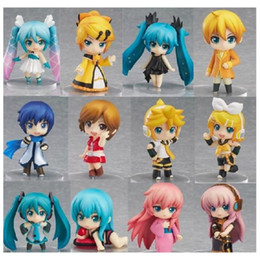 Wholesale Anime Figure Vocaloid - 12 PCS per set Vocaloid Hatsune Miku Family Rin Len Ruka Kaito Meiko Anime Figure doll Toys for Comic and Animation fans