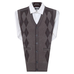 Wholesale Sweater Vest Cashmere - Fall-2016 New Autumn Winter Men Knitted Sweater Woolen Vests Male Single Breasted Sleeveless Vests Cashmere Casual Waistcoats W540