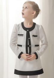 Wholesale 4t Long Cardigan - Great quality autumn style flower girl clothing sets black white 2pcs one dress long sleeves cardigan