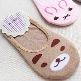 Wholesale Pretty Cut - Wholesale-Pretty Women Invisible Cotton Socks Nonslip Loafer Liner Low Cut Cartoon Animal lady Necessity Kitty Rabbit Bear