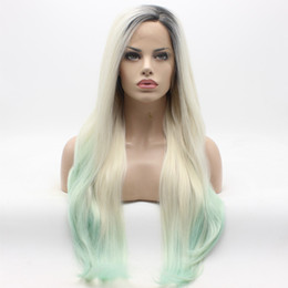 Wholesale Long Light Blue Wigs - Iwona Hair Straight Extra Long Dark Root Light Blonde Blue Ombre Wig 22#1 60 Blue Half Hand Tied Heat Resistant Synthetic Lace Front Wigs