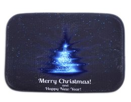 Wholesale Bedroom Blue Carpet - 40*60cm Blue Christmas Tree Bath Mats Anti-Slip Rugs Coral Fleece Carpet For For Bathroom Bedroom Doormat Online