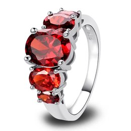 Wholesale Mixed Labs - Lab New Jewelry Red Garnet 18K White Gold Plated Silver Fashion Ring Size 6 7 8 9 10 11 12 13Free Shipping Wholesale