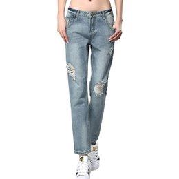 Wholesale Womens Boyfriend Jeans - 2016 New Womens Loose Fashion Vintage Boyfriend Style Mid Ripped Bleached Scratched Hole Jeans Denim Vaqueros