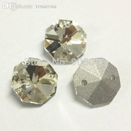 Wholesale Glass Crystals Octagon 14mm - Wholesale-PointBack Sew On Rhinestone 50pcs 14mm Octagon shaped button sewing 100% Glass Crystal For Wedding dress,Shoes,Bags