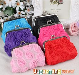 Wholesale Red Flower Purse - Hot sale women high quality lor stereo rose flower monkey Wallet ladies Mini Cosmetic Bag Key Case Coin Case Purse clutch bag by001