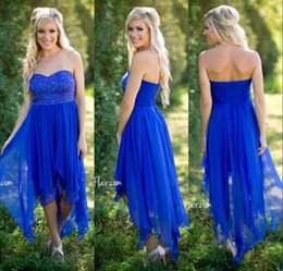 Wholesale Sleeveless Chiffon Long Asymmetrical Dress - Country Style Royal Blue Cheap Bridesmaids Dresses Sequins Beaded Sweetheart Chiffon Hi-lo A Line Bride Maid Gowns For Girls Under $100