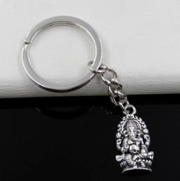 Wholesale Thailand Fashion Rings - Fashion 20pcs lot Key Ring Keychain Jewelry Silver Plated Religion Thailand Ganesha Buddha Charms