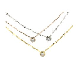 Wholesale Stainless Steel Neck Chains - 2016 wholesale neck jewelry titanium gold plated single diamond solitaire women necklace 10 pieces lot free drop shipping