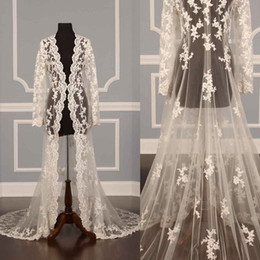 Wholesale long sleeve ivory lace shrug - 2018 Lace Bridal Jackets Long Sleeves Bridal Coat Sweep Train Wedding Capes Wraps Bolero Jacket Wedding Dress Wraps Shrugs Hot Sale
