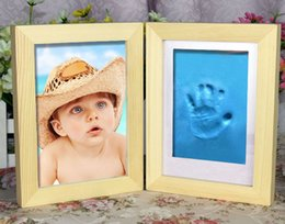 Wholesale Baby Wooden Picture Frame - Wooden Picture Frames for Photo Baby Hand and Foot Prints Inkpad Infant Baby Photo Frame marcos para fotos porta retrato