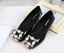 Wholesale Diamond Singles Shoes - Hot!!!Metal square head light mouth single shoes, female diamond bride shoes, light mouth antiskid shoes, big yards flat shoes