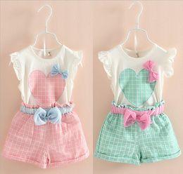Wholesale New Design Girl Pants - New design Fashion Girls Love Heart top sleeveless vest+plaid Short pants bow suit baby clothes 2 color