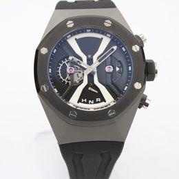 Wholesale Rubber Band Watches - Hot Sale mens Brand Quartz chronograph Watch Men Black Dial Black Rubber Band Transparent Glass Back Off-shore Mechanical Casual Watch