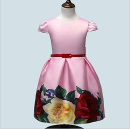 f4925a89657e Children clothes summer 2018 new vintage prints flower with sash dress  evening ball gown princess formal satin dresses girls kids