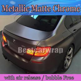 Wholesale Chrome Vehicle Wrap - Anthracite Matte Metallic Vinyl Wrap With Air Bubble Free Dark Grey Gunmetal Matt Chrome metallic Vehicle Wrapping size 1.52x20m   5x66ft