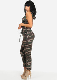 Wholesale Ladies Hot Jumpsuit - 2017 Hot Style Ladies Fashion Plus Size Bodysuit Camouflage Tight Leg Casual Denim Sleeveless Rompers Womens Jumpsuit Skinny Pencil Pants