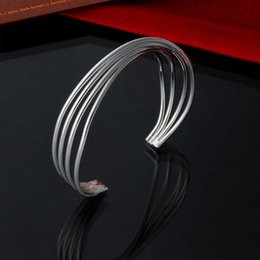 Wholesale Sterling Silver Twisted Wire Bracelet - Factory direct wholesale 925 Sterling Silver 4 wire twisted bracelet fashion silver bracelet and bangles for women gift for lovers