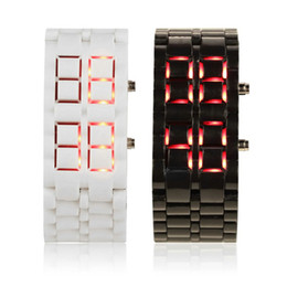 Wholesale Led Watch Iron Man - Wholesale-Fashion Men Women Lava Iron Samurai Plastic LED Bracelet Watch Wristwatch Sports Style