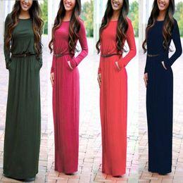 Wholesale Long Sleeved Chiffon Maxi Dress - S-XL Plus Size Woman Dress Autumn 2016 High Quality Maxi Dress Pocket Long Sleeved Casual Ladies T shirt Dresses With Belt