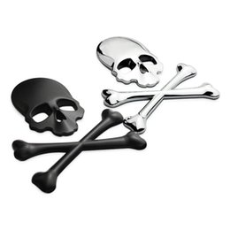 Wholesale Truck Emblems Wholesale - Wholesale Auto Metal Cover Truck Part 3D Skull Metal Car Motorcycle Sticker Label Skull Emblem Badge Car Styling Sticker Accessories Decal