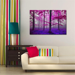 Wholesale Canvas Oil Paintings Huge - Frameless Huge Wall Art Oil Painting On Canvas Purple Forest Home Decor