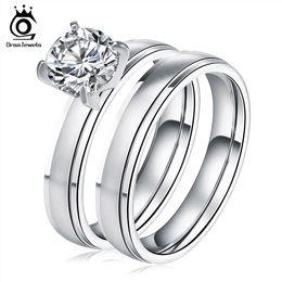 Wholesale brilliant steel - Brilliant Cut Engagement Wedding Cubic Zircon Ring Set Trendy Stainless Steel Luxury Rings For Women GTR20