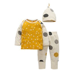 Wholesale Boutique Hats - Baby Cross Dot Tee Tops Outfits with Hat 2017 Fall Kids Boutique Clothing INS 0-3T Baby Cotton Dot Tops+Pants 3 Pieces Set