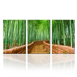 Wholesale Interior Wall Paintings Pictures - Bamboo Path Forest Canvas Prints Contemporary Art Modern Wall Decor 3 Panel Wood Mounted Giclee Canvas Painting Interior Decoration