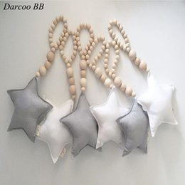 Wholesale Small Green Beads - Wholesale- Nordic Style Handmade Natural Wood Beads With Stuffed Star Small Pendant Toys Children's Room Tnet Bed Wall Decoration
